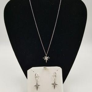Elle Sterling Sliver Star Necklace & Earrings 925